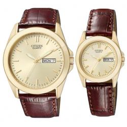 Đồng hồ cặp Citizen quai da